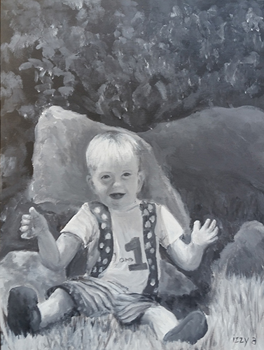 Commissioned Artwork Child Birthday One Year Old