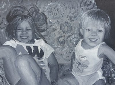 Commissioned Artwork Children Sitting and Smiling on Sofa