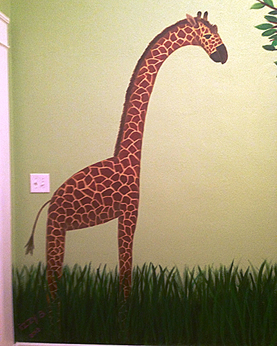 Nursery Mural Giraffe Close-up