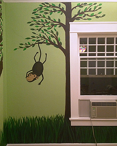 Nursery Mural Monkey on Tree Close-up