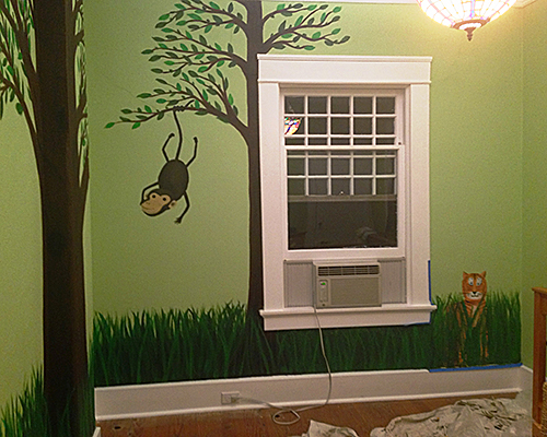 Nursery Mural Monkey on Tree