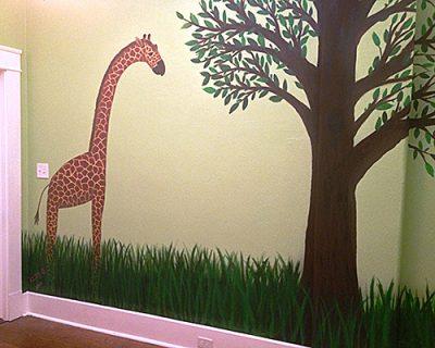 Nursery Mural Giraffe and Tree