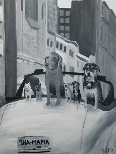Commissioned Artwork Dogs In A Convertible Backseat Looking Out