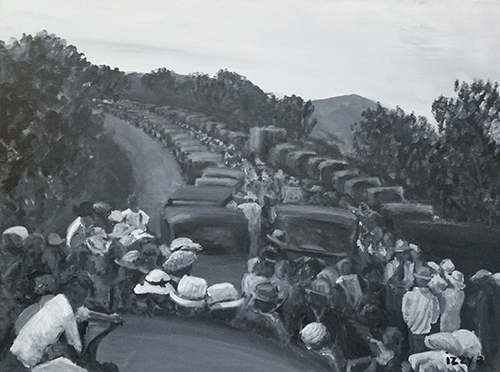 Commissioned Artwork Cars Waiting In Line