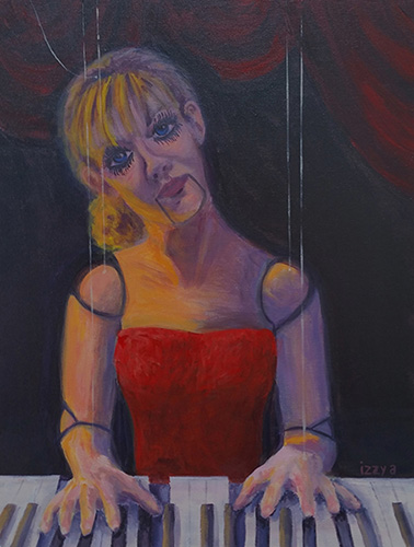 Girl marionette playing the piano