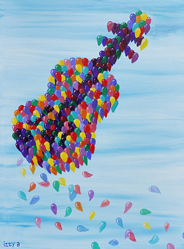 Violin in the sky made of balloons