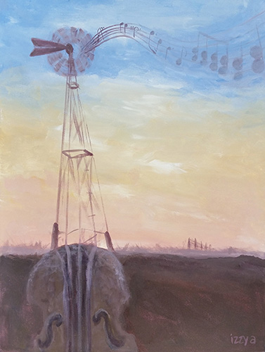Windmill with musical notes in desert landscape
