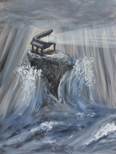 Piano lighthouse in choppy water