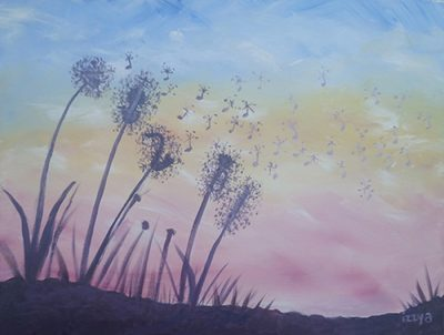 Dandelion musical instruments waving in the wind shaking musical notes in the air