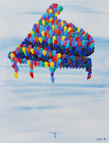 Girl pulled up into the sky by balloons