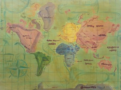 Map of the world with musical instruments painted as the continents