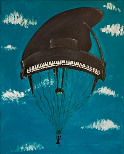 Piano parachute in the sky with clouds