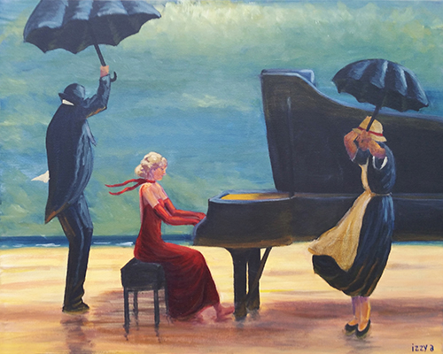 Girl playing a piano on a beach with a butler and a maid