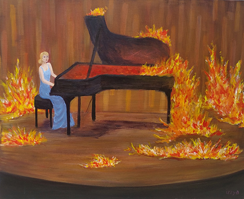 Girl playing a piano on fire