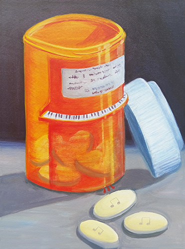 Medicine bottle with music pills inside