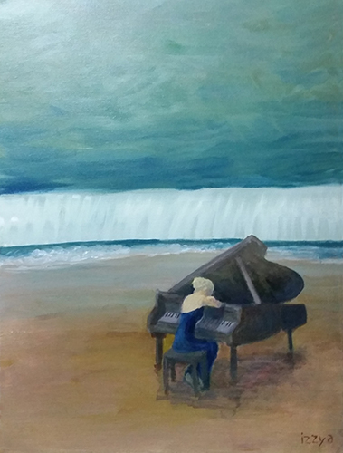 Girl playing a piano on a sandy beach