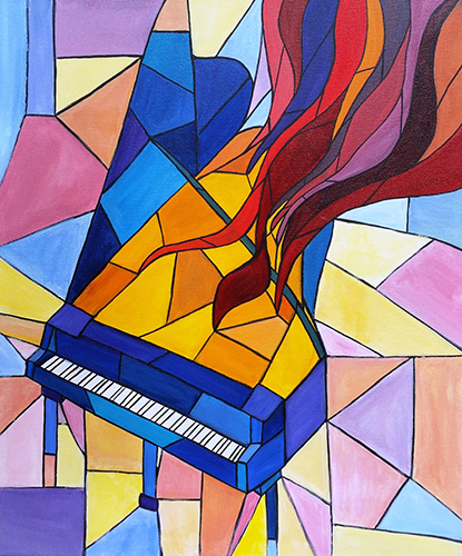 Piano stained glass art