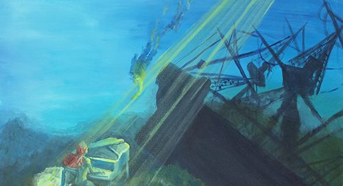 Girl playing a piano at sea with a crashing ship