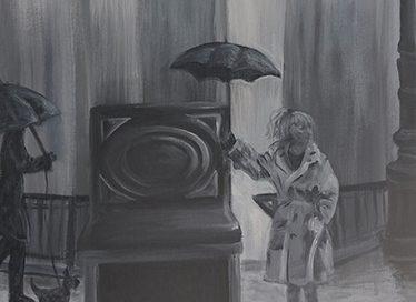 Girl holding an umbrella next to a piano