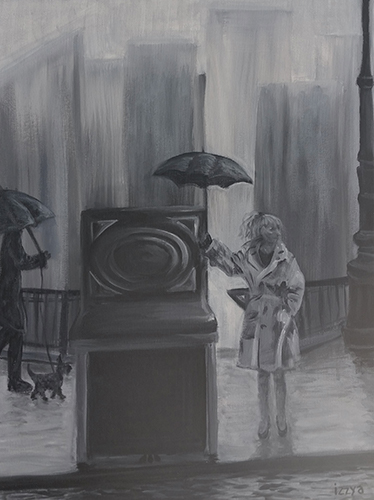 Girl holding an umbrella next to a piano